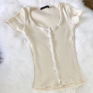 BRANDY MELVILLE cream button up short sleeve
